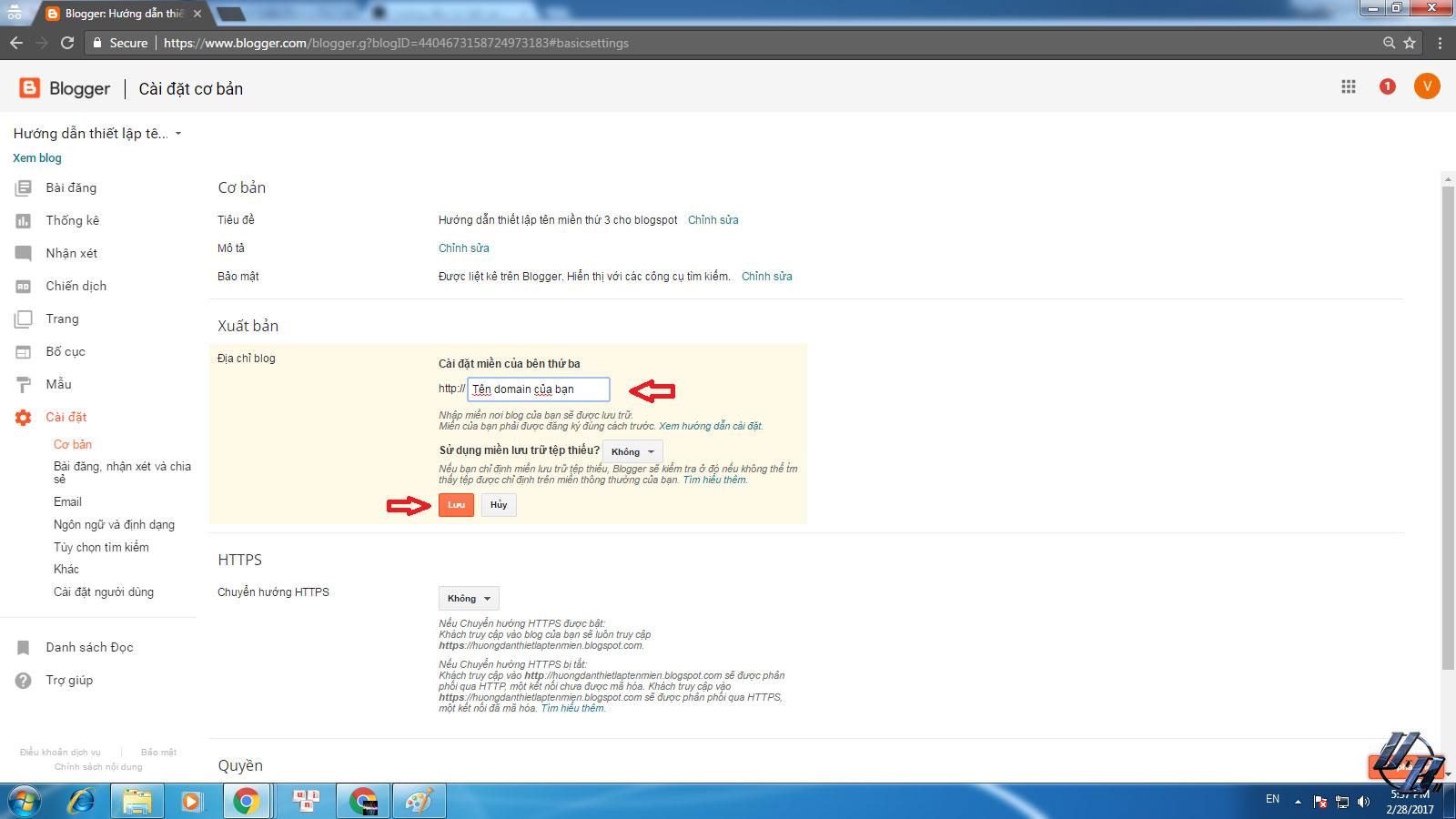 Gõ Vào tên miền mà bạn muốn trỏ vào blogspot