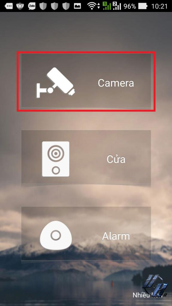 Chọn vào biểu tượng hình camera