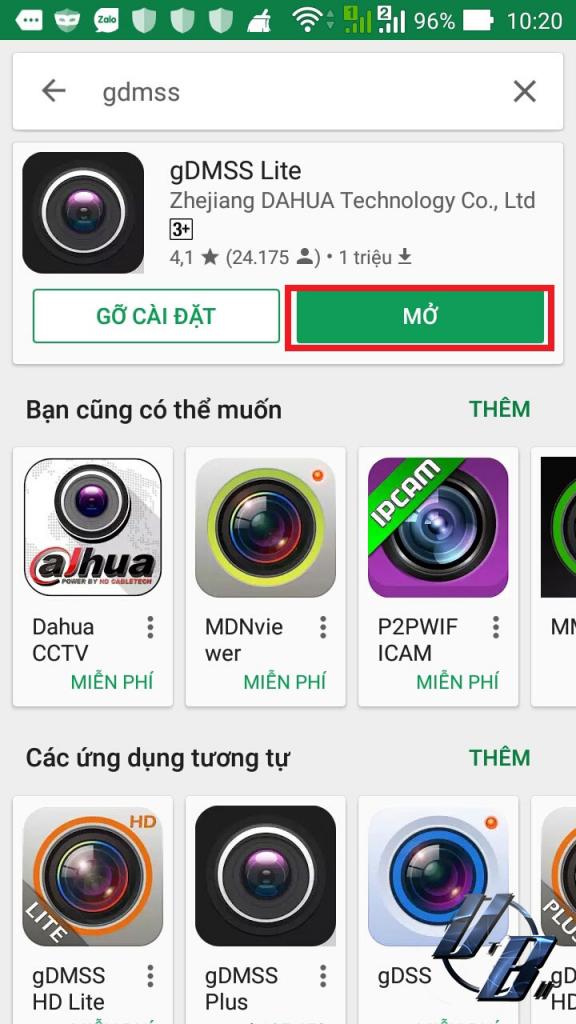 Chương trình gDMSS lite trên app android