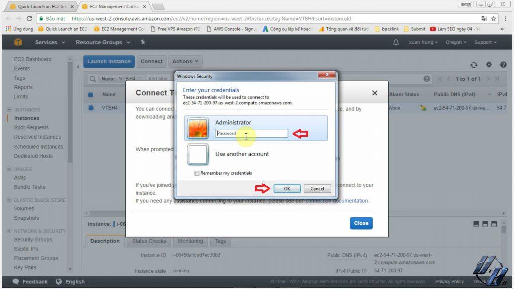 Tiến hành mở file remote deskop và nhập mật khẩu để đăng nhập