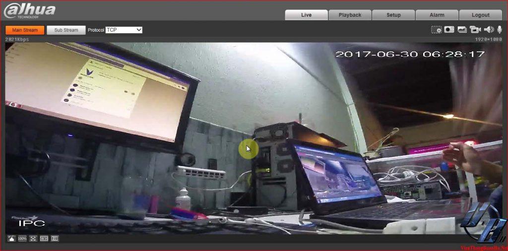 Giao diện quản lý camera trên trình duyệt