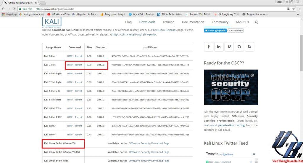 Trang download kali linux