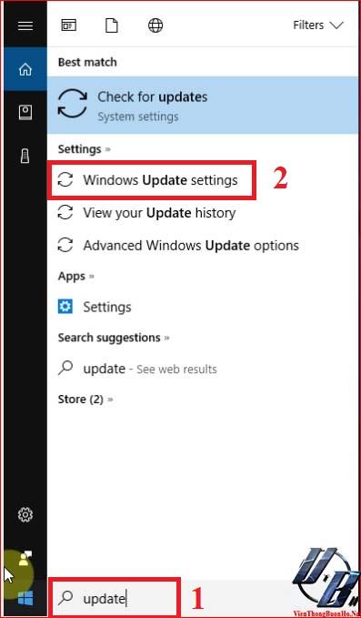Truy cập cài đặt windows update