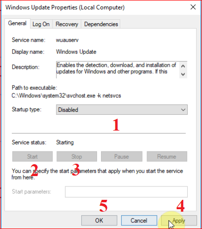 Disable và stop dịch vụ Windows update