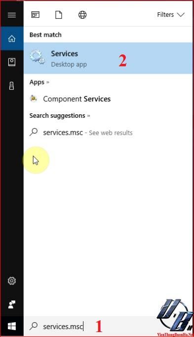 Tìm kiếm trình quản lý dịch vụ windows