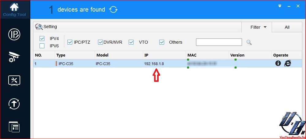 Tìm thấy IP của camera
