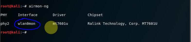 Chế độ monitor đã được bất trên card vlan0