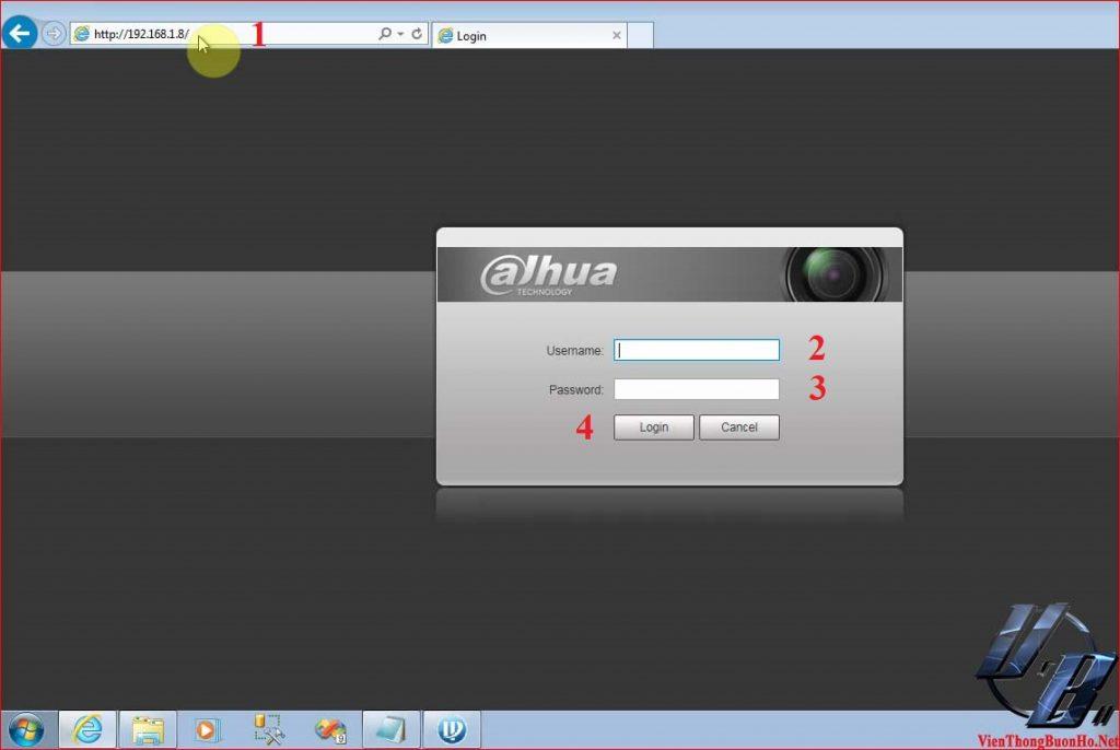 Nhập IP của Camera vào trình duyệt
