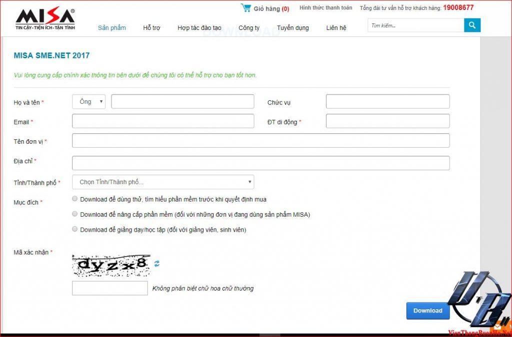 Nhập thông tin, sau đó nhập mã Capcha để download