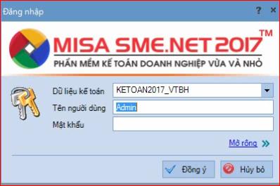 Cửa sổ đăng nhập chương trình misa