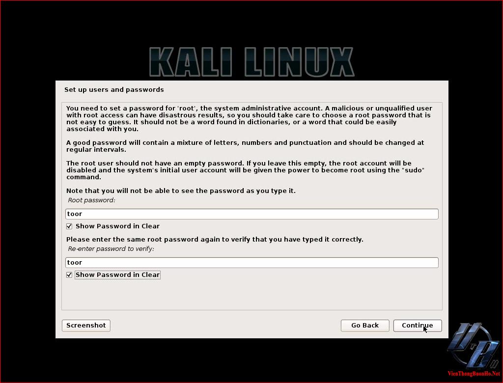 Nhập mật khẩu cho tài khoản root