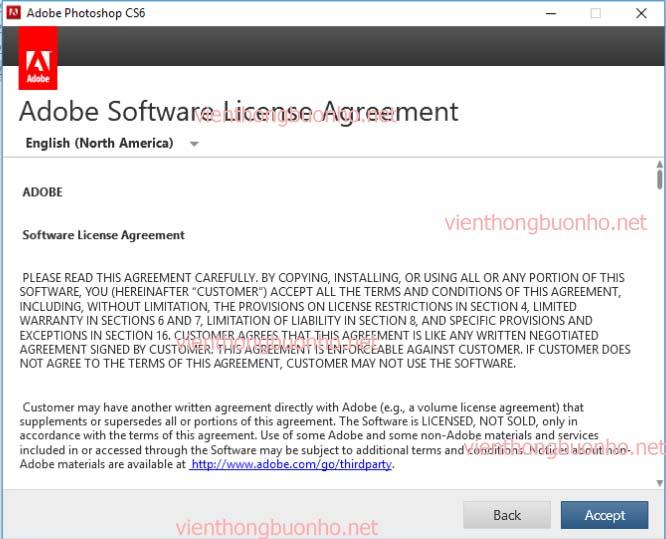Accept để chấp nhận thỏa thuận cài đặt