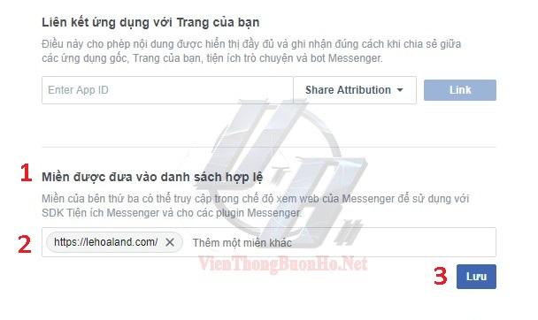 Nhập tên website muốn hiển thị messenger