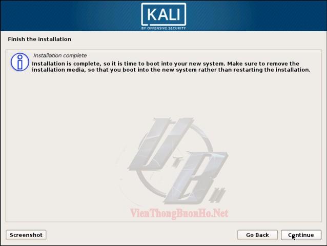 Quá trình cài đặt HDH Kali Linux hoàn tất