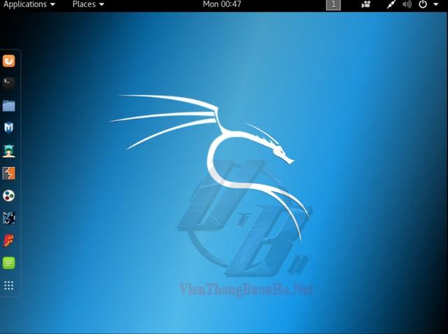 Màn hình giao diện hệ điều hành kali linux 2018.3a