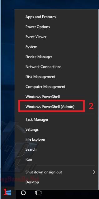Mở ứng dụngWindows PowerShell(Admin)