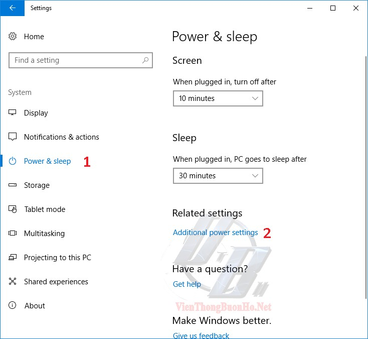 Tìm additional power settings