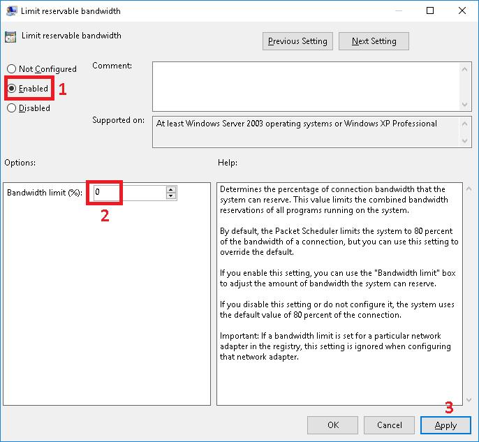 Enable và chỉnh sửa Bandwidth limit