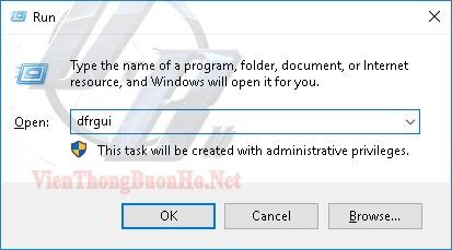 Lệnh mở chương trình chống phân mảnh windows