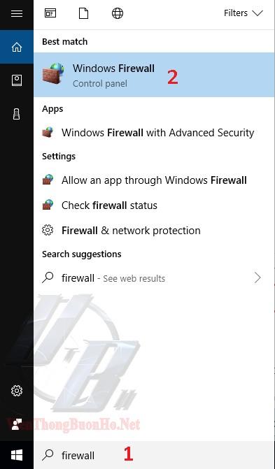 Tìm ứng dụng Windows Firewall