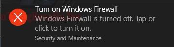 Thông báo tắt windows firewall của hệ thống
