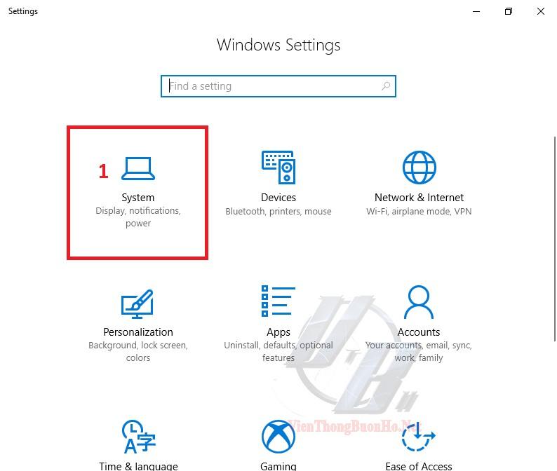 Chọn System trên ứng dụng setting