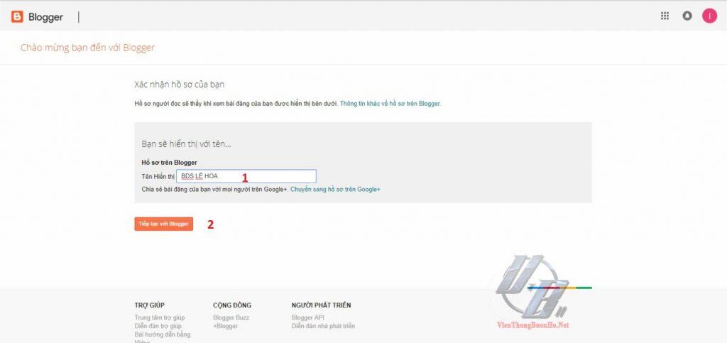 Nhập tên hiển thị khi dùng Blog