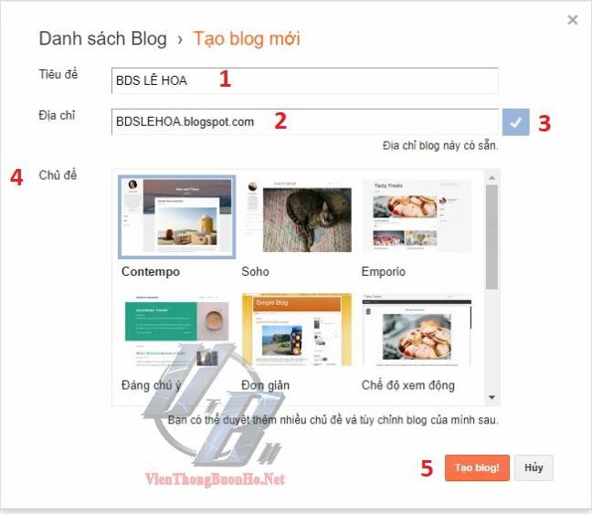 Thiết lập cho Blog mới