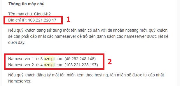 Thong tin về IP và NAMESERVERS được gửi về Email sau khi đăng kí Host