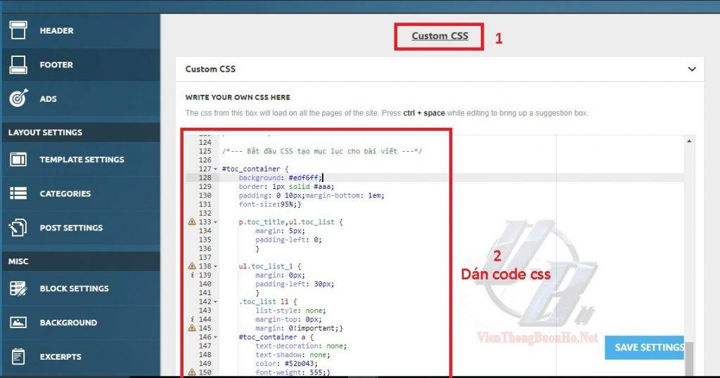 Dán code CSS vào themes - hình 12