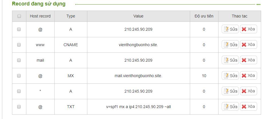 thông số record DNS thiết lập trên tên miền