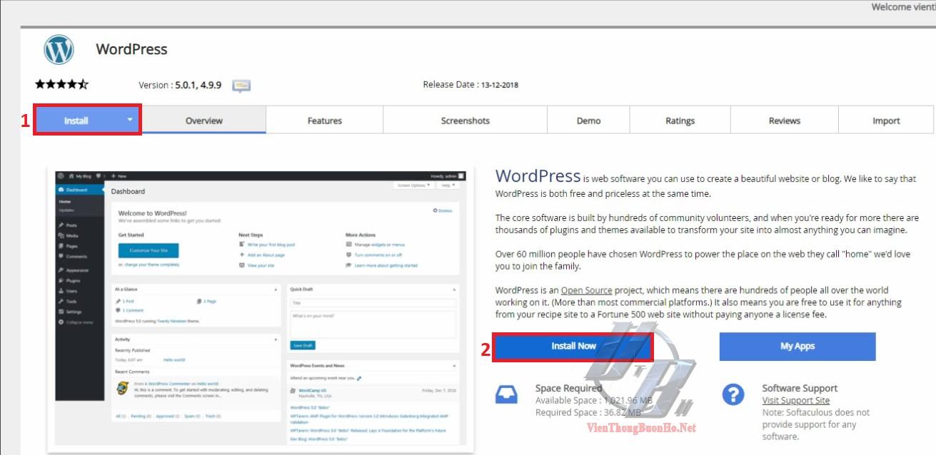 Bắt đầu cài đặt wordpress